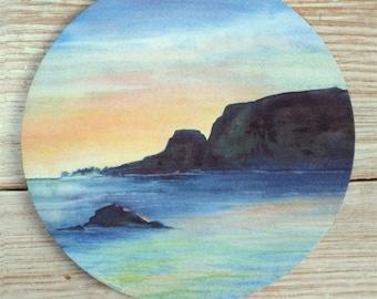 Ocean Sunset Mousepad Fine Art Mouse Pad Original Watercolor Painting