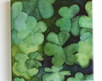 Clover Shamrock Tile Trivet Original Watercolor