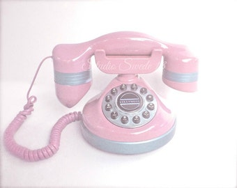 "Old Phone Photo, Retro Telephone Print, Shabby Cottage Chic, Pink Phone, Girly Office Decor, Pink Nostalgic Art, Girls Room Art-""Hello Pink"""