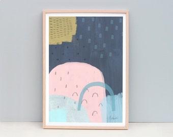 Modern Abstract Painting, Navy Blue Abstract, Pink and Blue Art, Mountain Art, Abstract Painting, Pastel Colour Art, Dark Blue Art