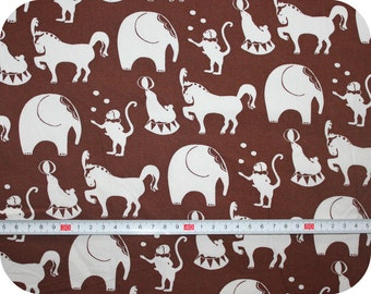 Retro children's fabric with circus animals in vintage style