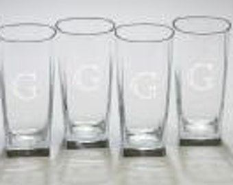set of 6 Monogrammed Glasses, Customized Glasses, Personalized Glasses, Monogrammed Drinking Glasses