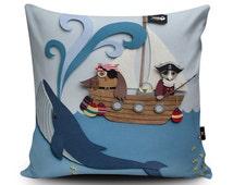 Nursery Cushion, Pirate Cushion, Nursery Pillow, Owl & The Pussycat, Kids Pillow Case, Children's Pillow, 18x18 inch, 45cm Faux Suede