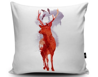 Deer Cushion, Deer Pillow, Stag Cushion Cover, Stag Pillow Case, Funny Deer, Humour, Stag Pillow for Home, Faux Suede Cushion