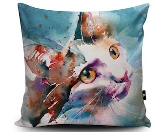 Cat Cushion, Cat Pillow, Kitten Cushion, Kitten Pillow, Cat Cushion Cover, Cat Pillow Case, Painting Art Home Decor Bedding 45cm/60cm by Liz