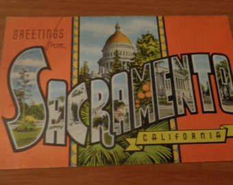 Vintage Original Greetings From Sacramento California Postcard Free Shipping