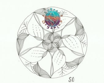 Mandala Flower colour in sheet, adult colouring, intricate floral art design, de-stressing art therapy. colour a flower, printable art sheet