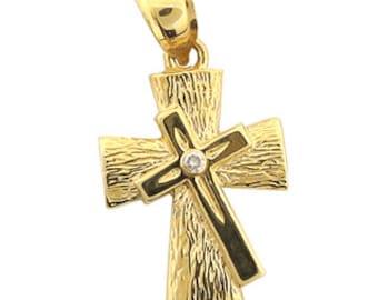 14K Men's Fancy Design Double Cross Pendant With Round Diamond 0.02ct