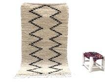 2x4 Small Bohemian rug, Beni ourain rug, Moroccan Handmade rug, Ivory beni ourain rug, Wool rug Moroccan carpets, Kilim Teppich Tapis