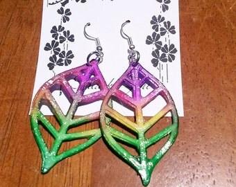 Beautiful Handmade Watercolor layered paper earrings!