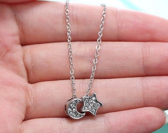 Silver Cystal Moon and Star Charm Necklace