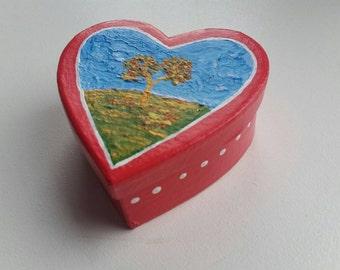 HEART Gift Box/Trinket Box - Autumn Tree - Red Heart Box