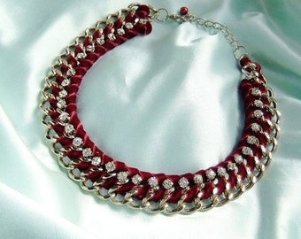 Statement necklace in Burgundy Red and gold with Rhinestone