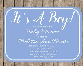 Blue It's A Boy Baby Shower | 4x6 Classic Invitation | Boy Baby Shower | Sip and See