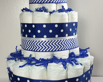 3 Tier Diaper Cake Boy Baby Shower Centerpiece Blue and White Polka Dot and Chevron - Total of 50 Diapers