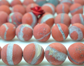 47 pcs of Natural Import Red Jasper matte round beads in 8mm