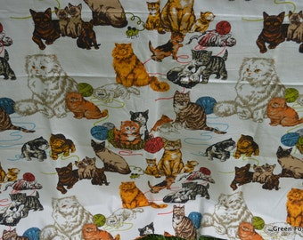 Cats and Kittens Vintage Cotton Decorator Fabric