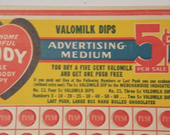 Vintage Valomilk Candy Punch Card