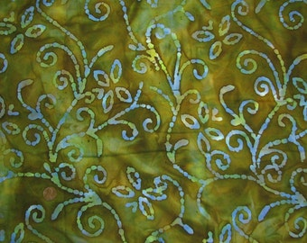 Batik Green Bundle: remnants, quilters batik, Indonesia batiks, crafting fabric, awesome cotton batik  (item 2036)