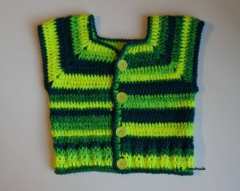 Crochet Boys Vest, 2 to 4 yrs, Toddler Clothes, Chunky, Warm Sweater vest, wool, Sleeveless Cardigan, spring vest, teal, neon yellow, kids