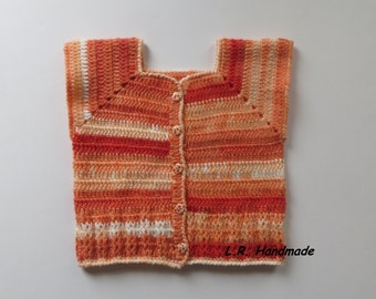 Crochet Girls Vest, 3 to 4 years, Girls clothes, Spring Clothes, Multi-Colour vest, Sweater vest, Sleeveless Cardigan, white, orange, soft
