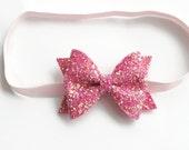 SUGAR PINK - glitter bow - pink headband - sparkle headband - glitter headband - headband baby - baby girl headband - sparkly headband