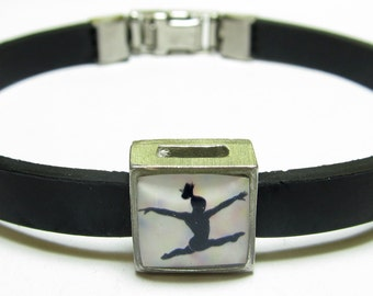Sport Female Gymnast Link With Choice Of Colored Band Charm Bracelet