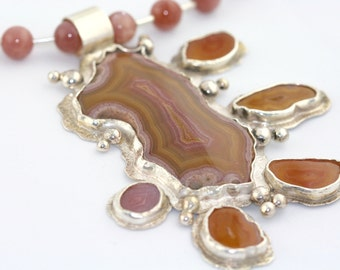 Laguna Lace & Coyamito Agate Sterling Silver Pendant with Moonstone Necklace