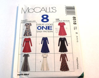 Vintage 1990s McCalls 8518 semi fitted princess seams dress sewing pattern