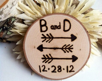 50 Rustic wedding wood slice magnet favors