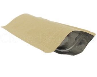 """10 Kraft Stand Up Pouches - 2oz - 4"""" x 6"""" x 2"""" - Foil Lined with Ziplock - Heat Sealable - Reclosable Natural Kraft Stand Up Pouch"""