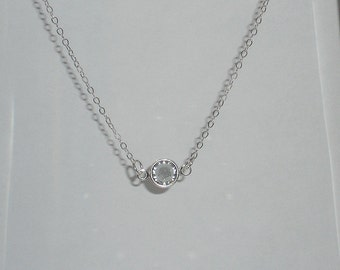 Small crystal necklace, simple necklace, delicate necklace, sterling silver, Giada necklace, tiny crystal necklace