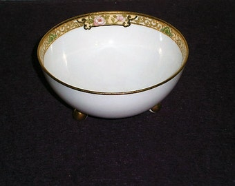 Bowl Moriage Dish Peonies Pink Gold Gilt Footed Antique NIPPON Royal Crockery
