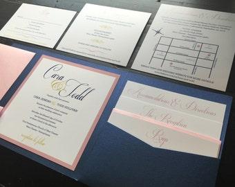 Pocket Wedding Invitation; Navy and Blush