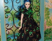 "Handmade CURVY Barbie & STANDARD Barbie Clothes. St Partricks Day Ballgown ""Golden Clover"" Black Gown with Green Clovers."