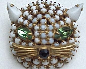 Vintage Milk Glass and Rhinestones CAT'S HEAD PIN / Brooch