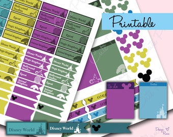 Walt Disney World Printable Planner stickers / Disney Planning days / Planner stickers