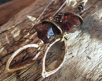 Primitive Silver Dangle Earrings, Rustic Textured Sterling Silver, Drop Earrings, Dangles, Rough Garnet, Silver Drops