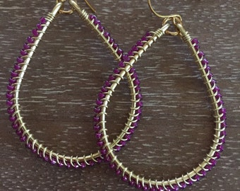 Wire Wrapped Gold Tear Drop Earring with Magenta Seed Beads