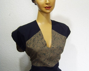 1940s style two tone dress