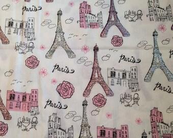 Paris Cotton Fabric, Eiffel Tower fabric, glittery fabric, glam fabric