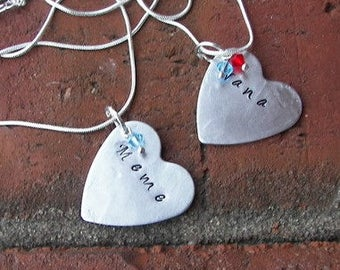 Sterling silver,mothers necklace,  Hand stamped jewelry, personalized, mommy jewelry, personalized jewelry, hand stamped, custom charm