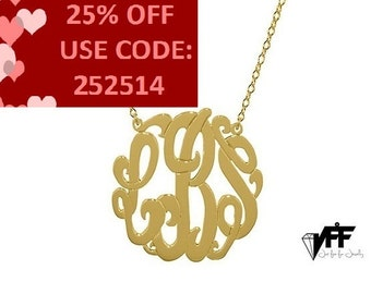 "Gold Monogram pendant any initial gold monogram necklace 1.25"" gold plated 18k on .925 silver"