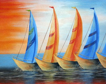 Abstract Sailboats Canvas