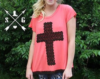 crochet lace cross short sleeve tunic shirt with tassels