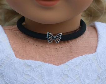 Doll Accessories | BUTTERFLY Charm CHOKER NECKLACE in Black or Frosted White for dolls such as American Girl Doll