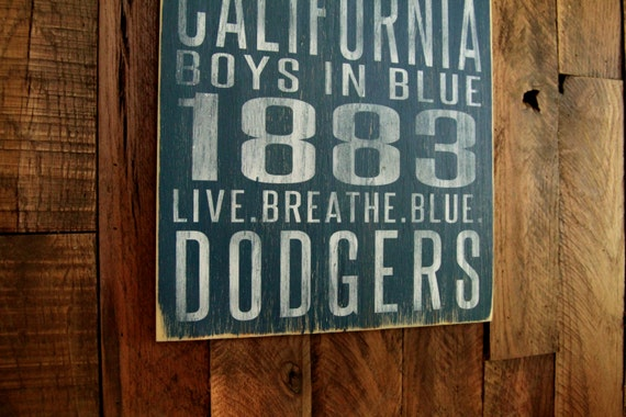 Los Angeles Dodgers Distressed Wood Sign--Great Father's Day Gift!
