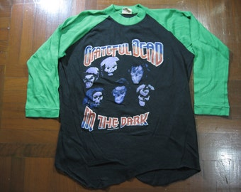 Vintage Grateful Dead In the Dark 1987 Tour Pakistan Baseball Rock thin t shirt Jerzees Vtg 50/50 cotton Size S XS Slim Fits Black Soft Tee