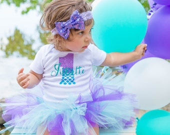 Mermaid First Birthday Outfit | Little Mermaid 1st Birthday Outfit for Baby Girls | Under the Sea Birthday