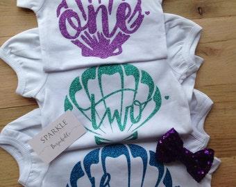Mermaid Birthday Outfit/Under the Sea Tutu Birthday Outfit/Purple and Aqua Mermaid / Mermaid Outfit / Purple Mermaid shirt